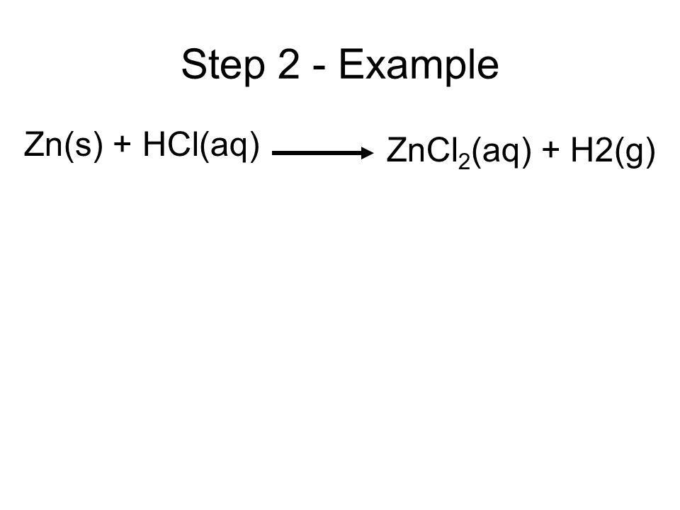 Step 2 - Example Zn(s) + HCl(aq) ZnCl 2 (aq) + H2(g)