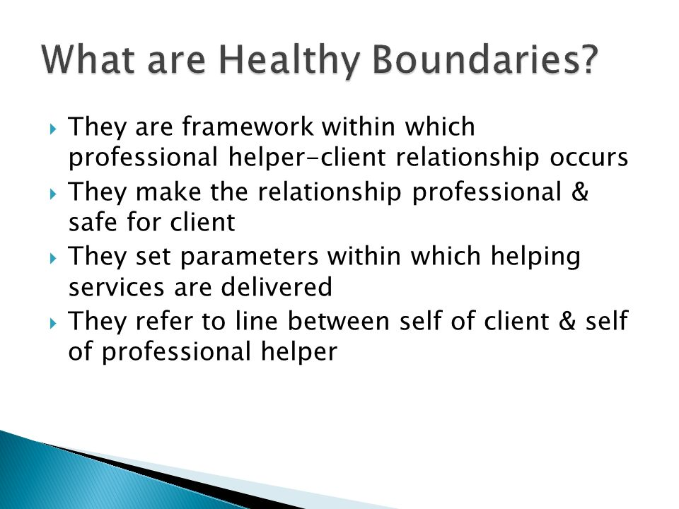 They are framework within which professional helper-client relationship occurs They make the relationship professional & safe for client They set parameters within which helping services are delivered They refer to line between self of client & self of professional helper
