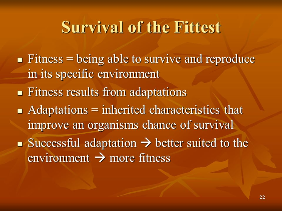 22 Survival of the Fittest Fitness = being able to survive and reproduce in its specific environment Fitness = being able to survive and reproduce in