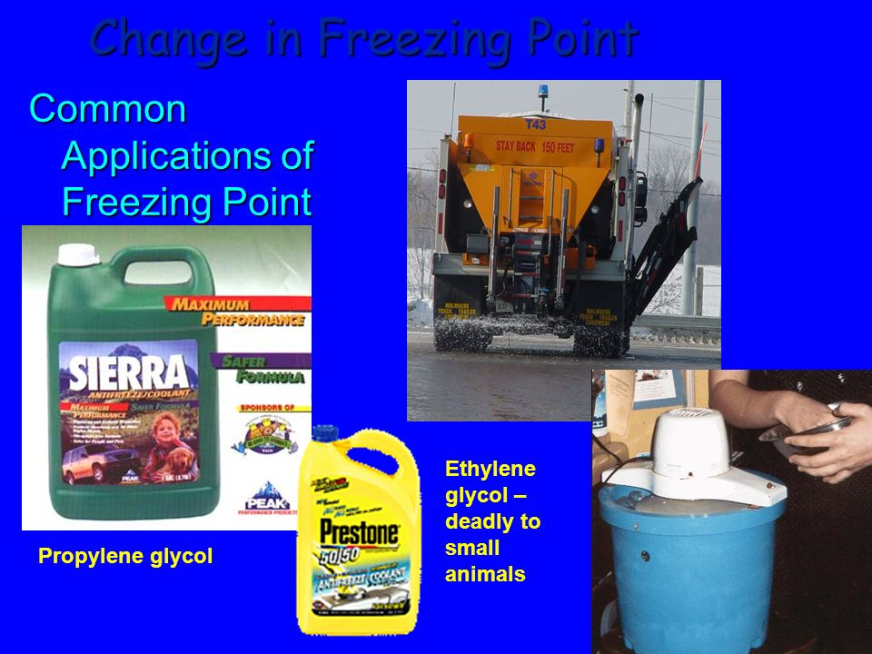149 Change in Freezing Point The freezing point of a solution is LOWER than that of the pure solvent Pure water Ethylene glycol/water solution
