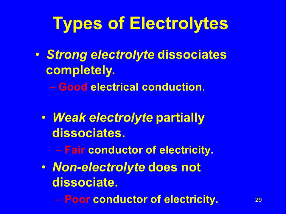 28 Types of solutes Sugar C 6 H 12 O 6 Non-electrolyte - No dissociation, all molecules in solution no conductivity