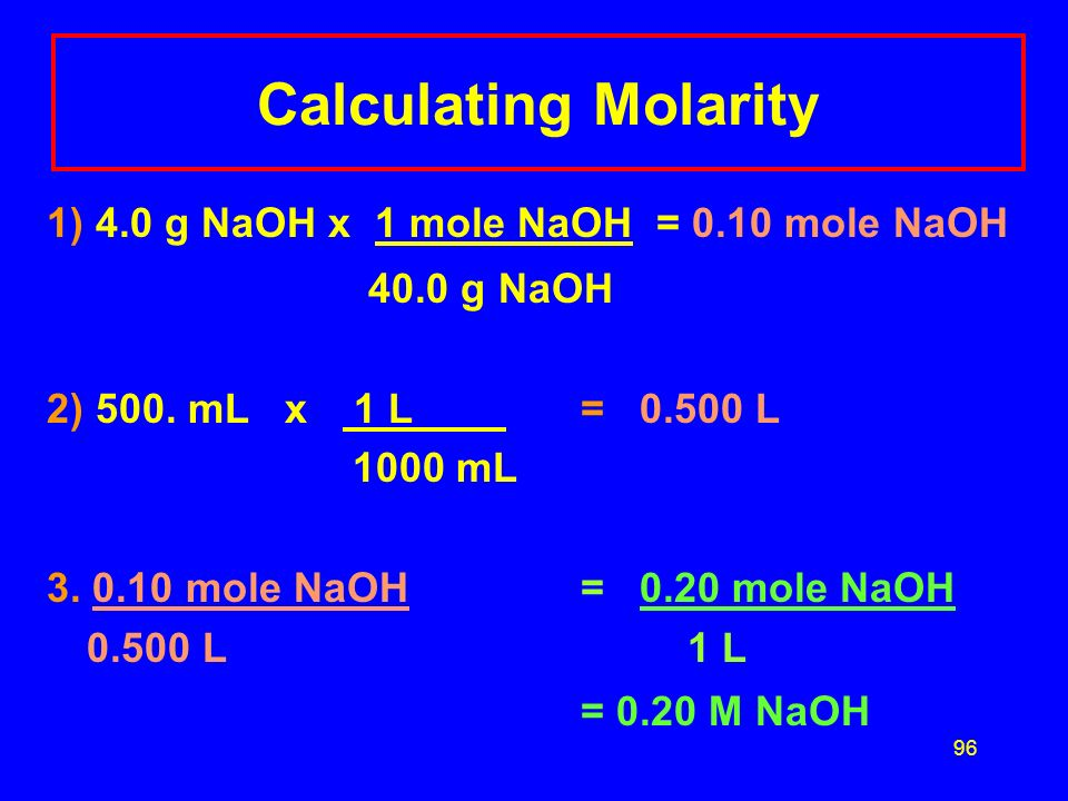 95 Molarity Calculation NaOH is used to open stopped sinks, to treat cellulose in the making of nylon, and to remove potato peels commercially. If 4.0