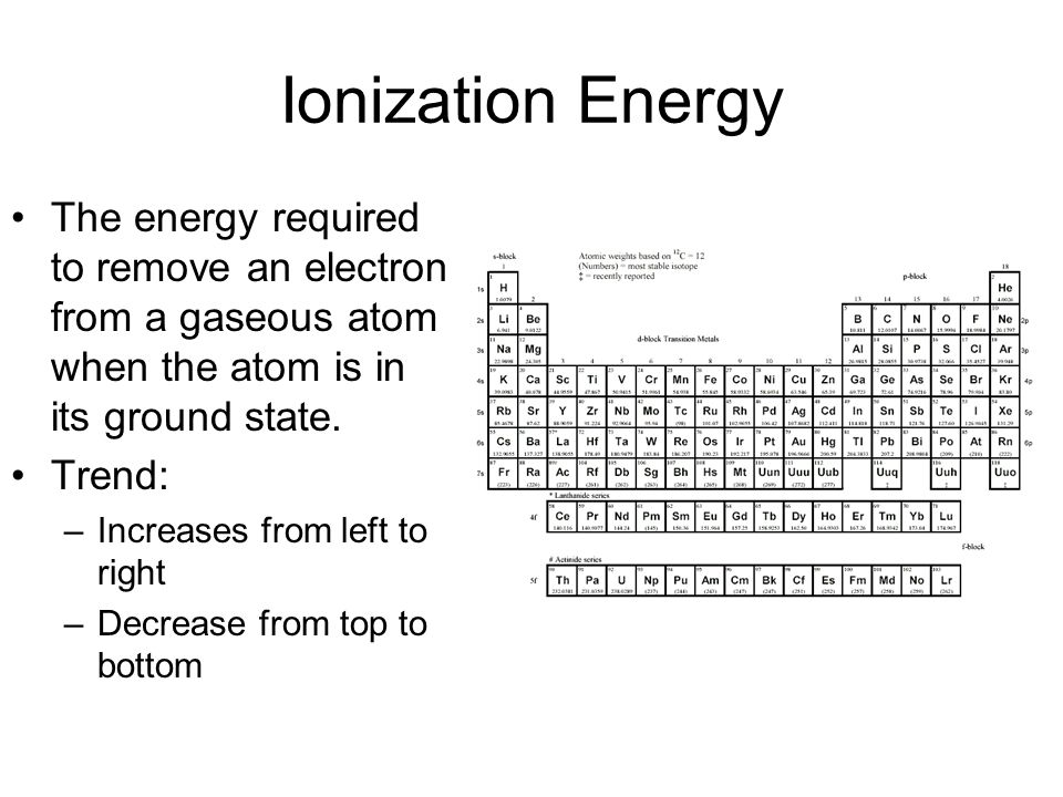 Ionization Energy The energy required to remove an electron from a gaseous atom when the atom is in its ground state. Trend: –Increases from left to r