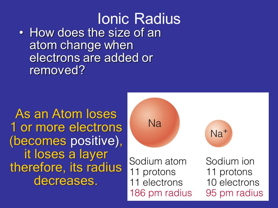 Ionic Radius How does the size of an atom change when electrons are added or removed?How does the size of an atom change when electrons are added or r