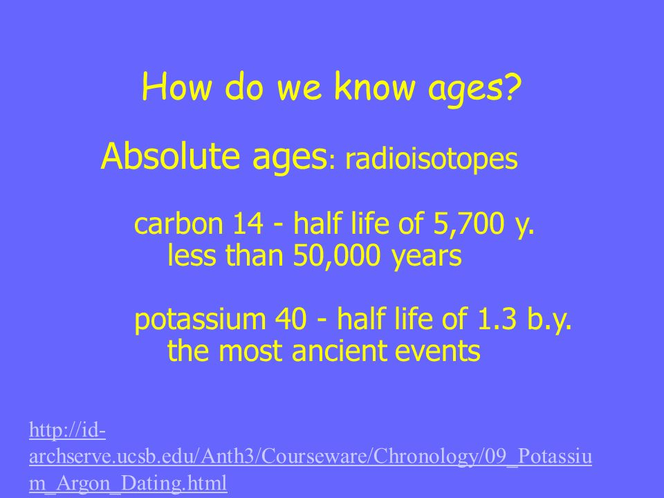 How do we know ages? Absolute ages : radioisotopes carbon 14 - half life of 5,700 y. less than 50,000 years potassium 40 - half life of 1.3 b.y. the m