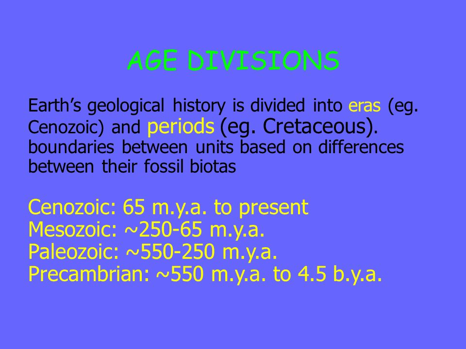 AGE DIVISIONS Earths geological history is divided into eras (eg. Cenozoic) and periods (eg. Cretaceous). boundaries between units based on difference