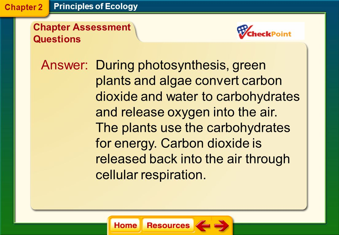 The diagram shows how carbon cycles through the environment. Describe how photosynthesis is involved in the carbon cycle. Principles of Ecology Chapte