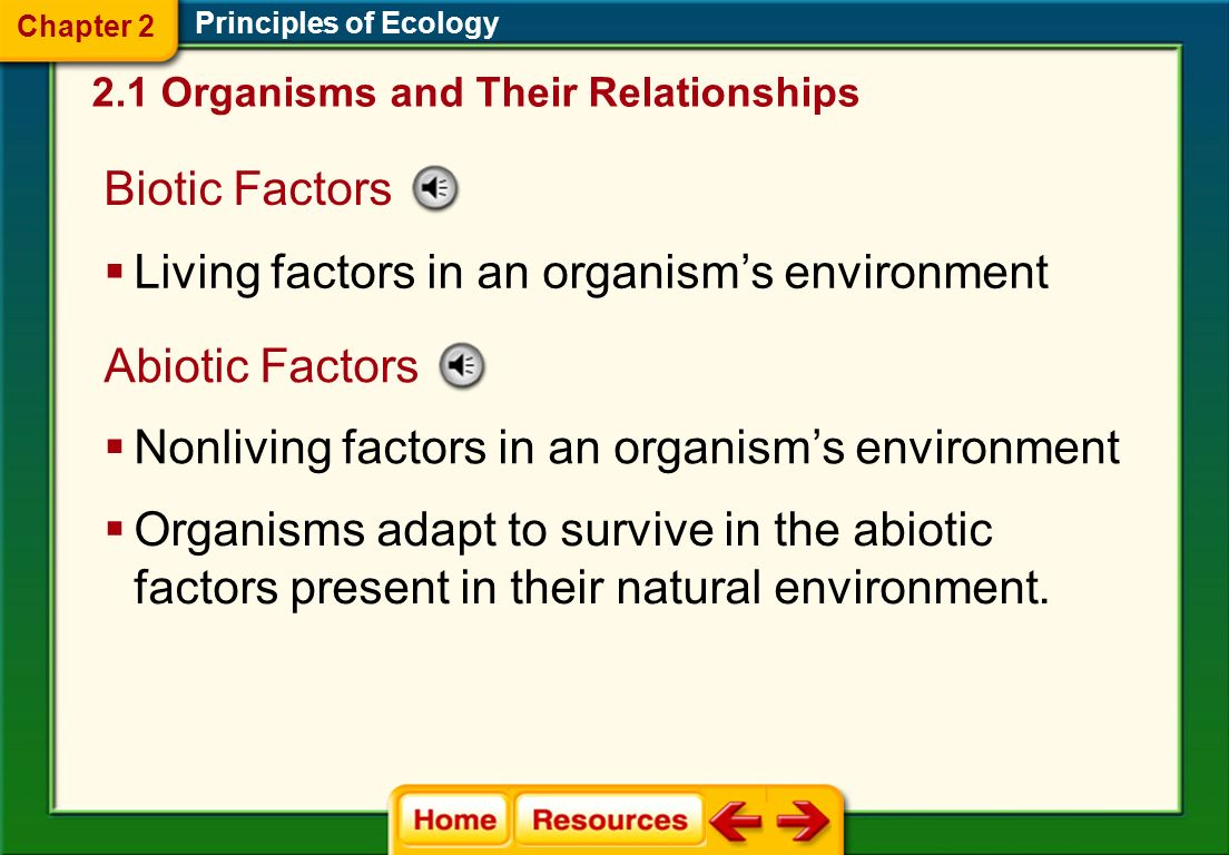 Biotic Factors Principles of Ecology Living factors in an organisms environment Abiotic Factors Nonliving factors in an organisms environment Organisms adapt to survive in the abiotic factors present in their natural environment.