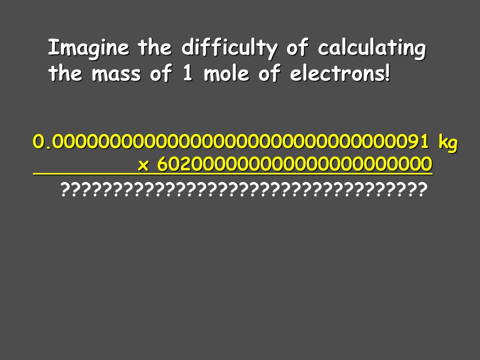 In science, we deal with some very LARGE numbers: 1 mole = In science, we deal with some very SMALL numbers: Mass of an electron = kg Scientific Notation