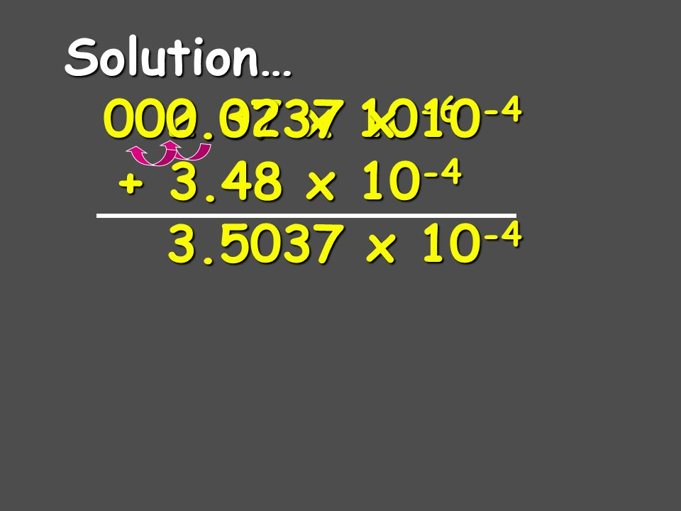 A Problem for you… 2.37 x 10 -6 + 3.48 x 10 -4
