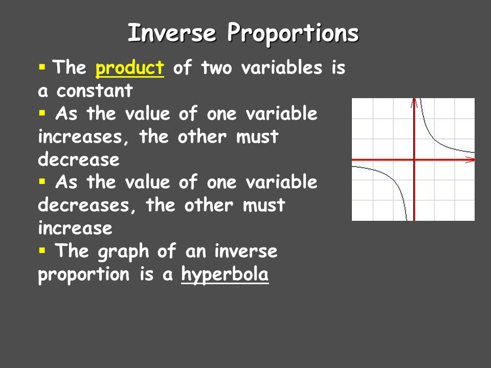 Direct Proportions The quotient of two variables is a constant As the value of one variable increases, the other must also increase As the value of one variable decreases, the other must also decrease The graph of a direct proportion is a straight line