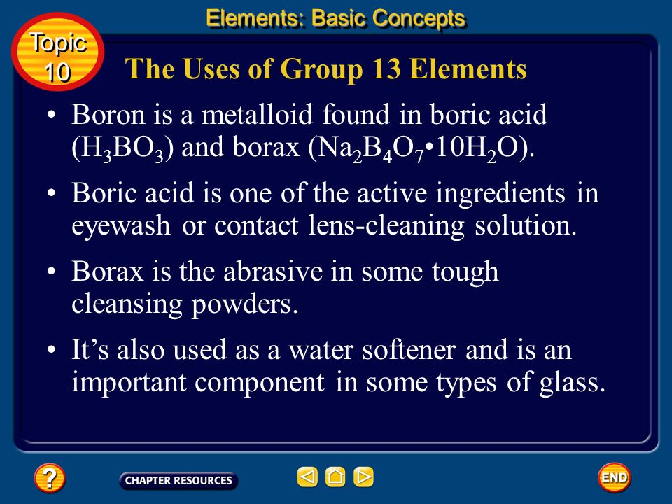 Group 13 Elements None of the metals are as active as the metals in Groups 1 and 2, but theyre good conductors of heat and electricity. Elements: Basi