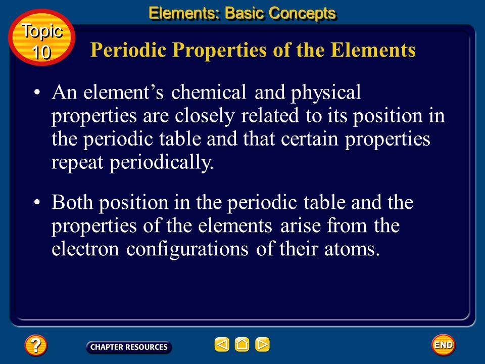 Topic 10: Elements Table of Contents Topic 10 Topic 10 Basic Concepts Additional Concepts