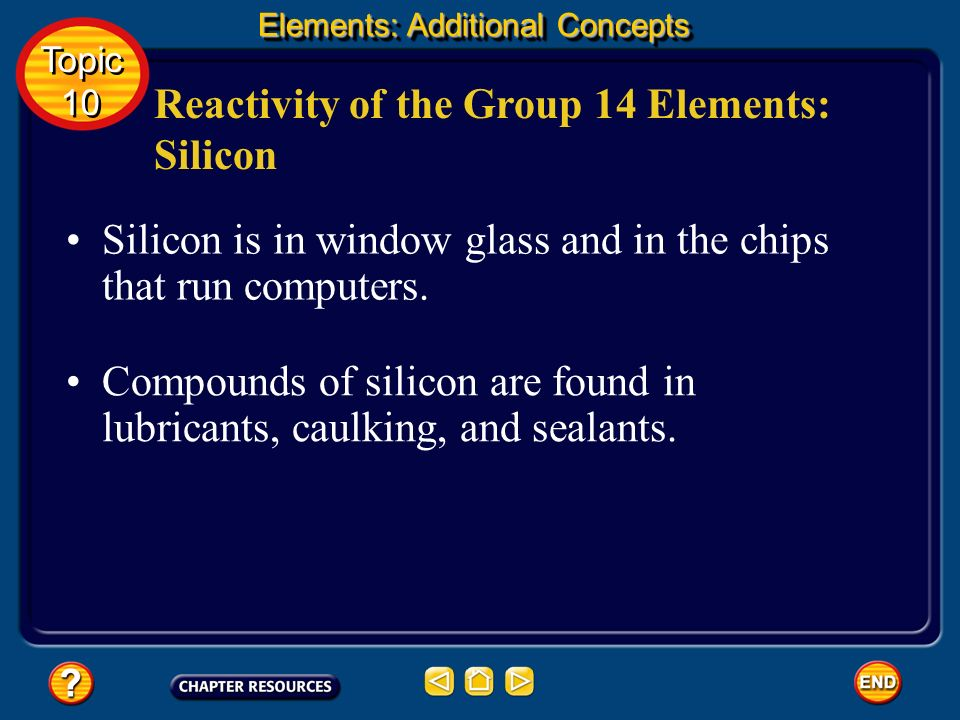 Reactivity of the Group 14 Elements: Silicon Silicon, like boron, is a metalloid. It occurs in sand as silicon dioxide, SiO 2 sometimes called silica.
