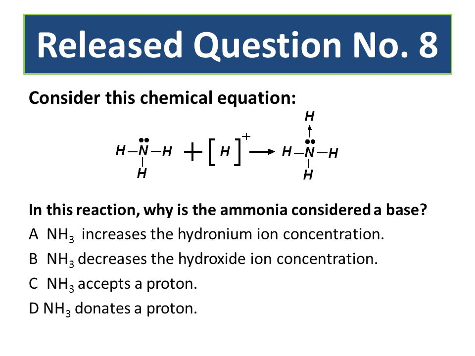 Released Question No. 8 Consider this chemical equation: In this reaction, why is the ammonia considered a base? ANH 3 increases the hydronium ion con