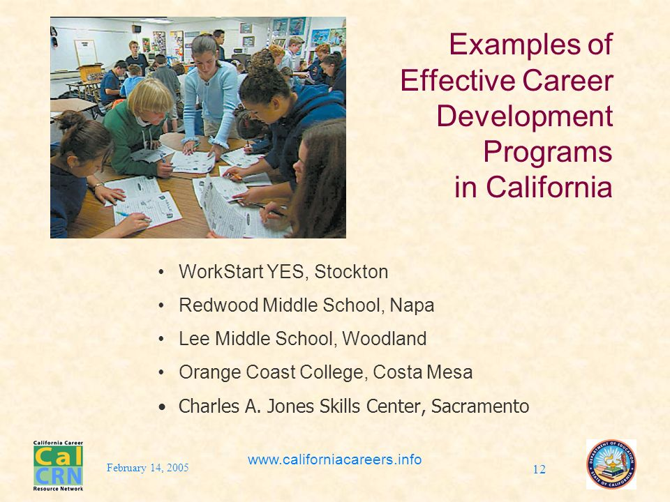 February 14, 2005 www.californiacareers.info 12 Examples of Effective Career Development Programs in California WorkStart YES, Stockton Redwood Middle School, Napa Lee Middle School, Woodland Orange Coast College, Costa Mesa Charles A.