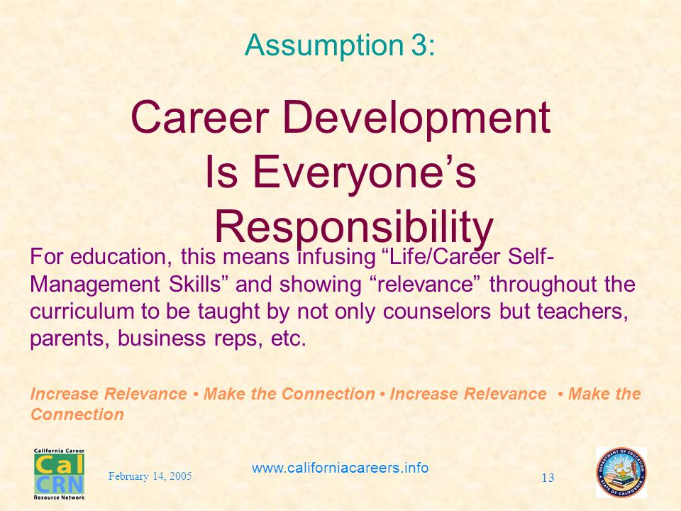 February 14, 2005 www.californiacareers.info 13 Assumption 3: Career Development Is Everyones Responsibility For education, this means infusing Life/Career Self- Management Skills and showing relevance throughout the curriculum to be taught by not only counselors but teachers, parents, business reps, etc.
