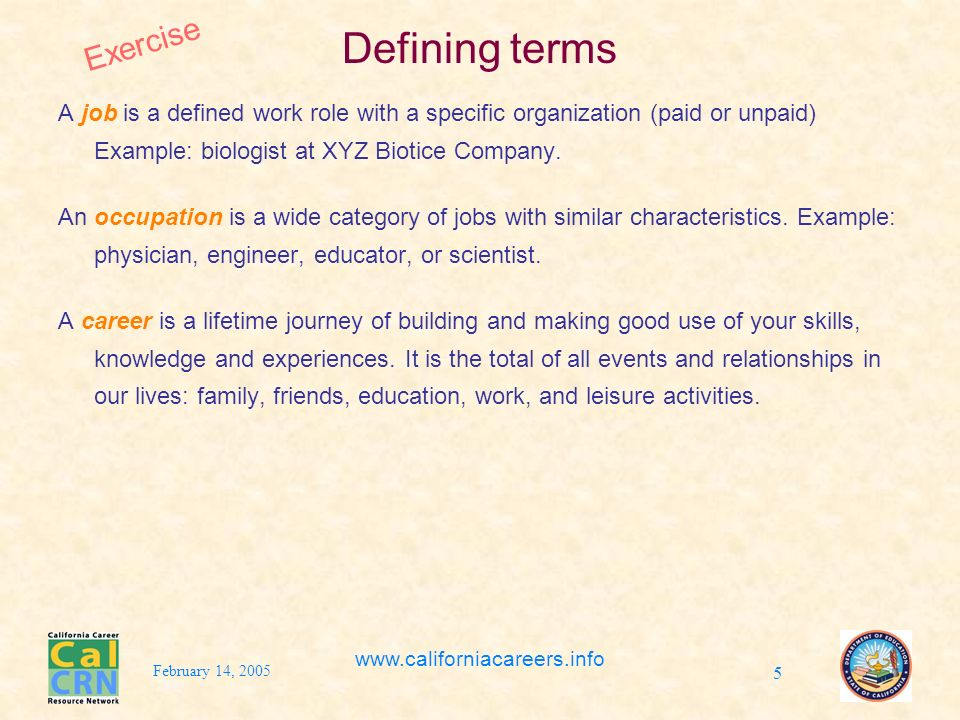 February 14, 2005 www.californiacareers.info 5 Defining terms A job is a defined work role with a specific organization (paid or unpaid) Example: biologist at XYZ Biotice Company.