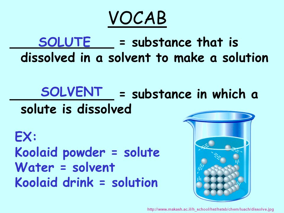 VOCAB _____________ = substance that is dissolved in a solvent to make a solution _____________ = substance in which a solute is dissolved SOLUTE EX: