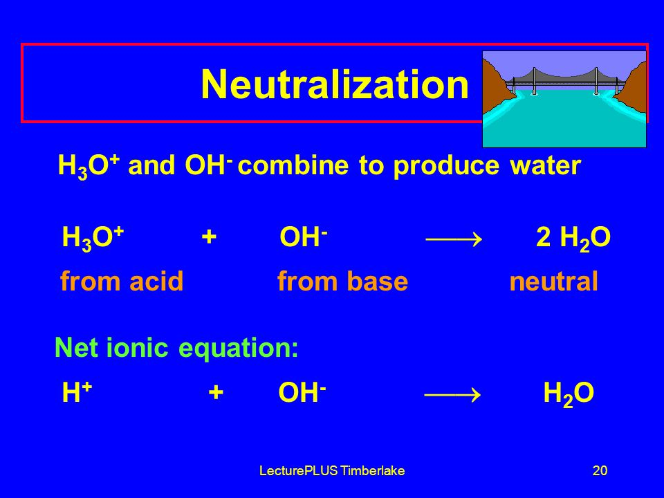 LecturePLUS Timberlake20 Neutralization H 3 O + and OH - combine to produce water H 3 O + + OH - 2 H 2 O from acid from base neutral Net ionic equation: H + + OH - H 2 O