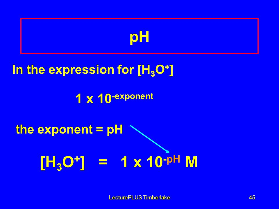 LecturePLUS Timberlake45 In the expression for [H 3 O + ] 1 x 10 -exponent the exponent = pH [H 3 O + ] = 1 x 10 -pH M pH