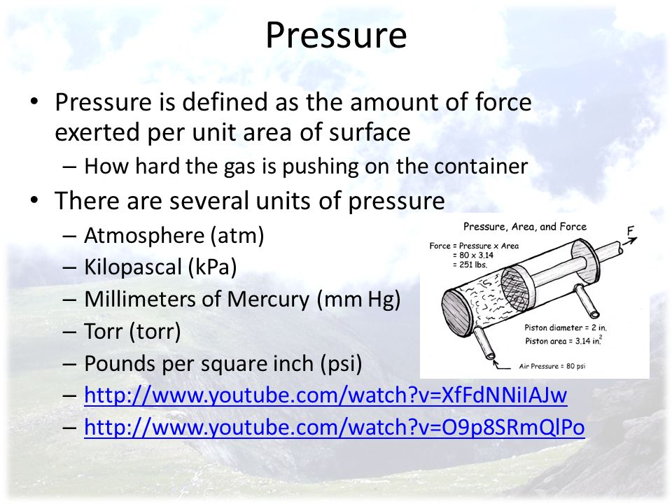 Pressure Pressure is defined as the amount of force exerted per unit area of surface – How hard the gas is pushing on the container There are several units of pressure – Atmosphere (atm) – Kilopascal (kPa) – Millimeters of Mercury (mm Hg) – Torr (torr) – Pounds per square inch (psi) – http://www.youtube.com/watch?v=XfFdNNiIAJw http://www.youtube.com/watch?v=XfFdNNiIAJw – http://www.youtube.com/watch?v=O9p8SRmQlPo http://www.youtube.com/watch?v=O9p8SRmQlPo