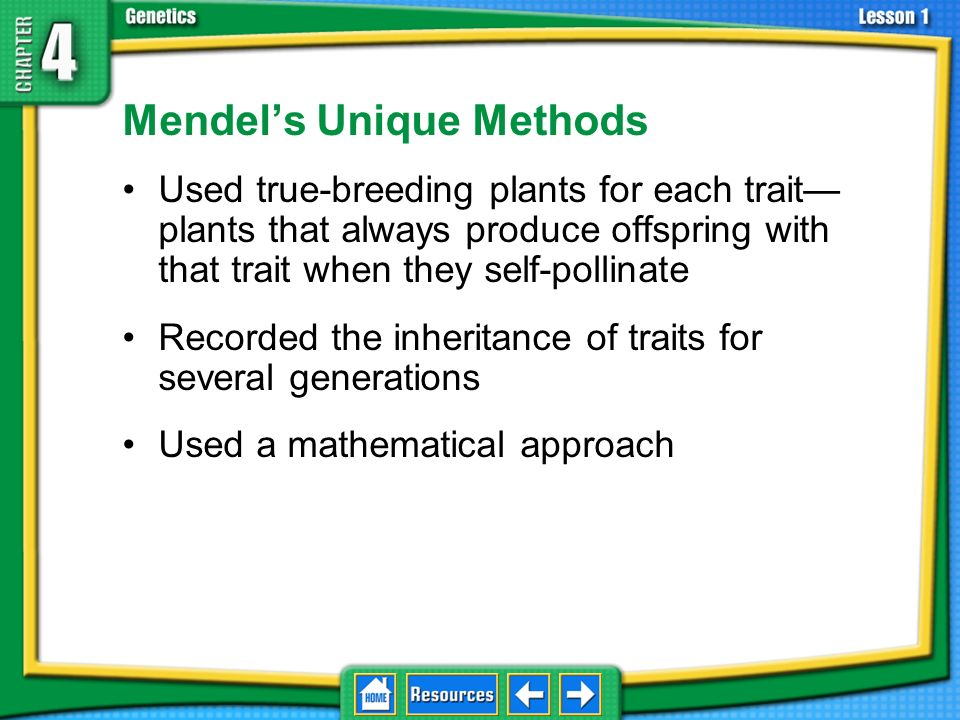 Controlled Experiments Mendel controlled fertilization in the pea plants, allowing him to see how traits pass from one generation to another. 4.1 Foun