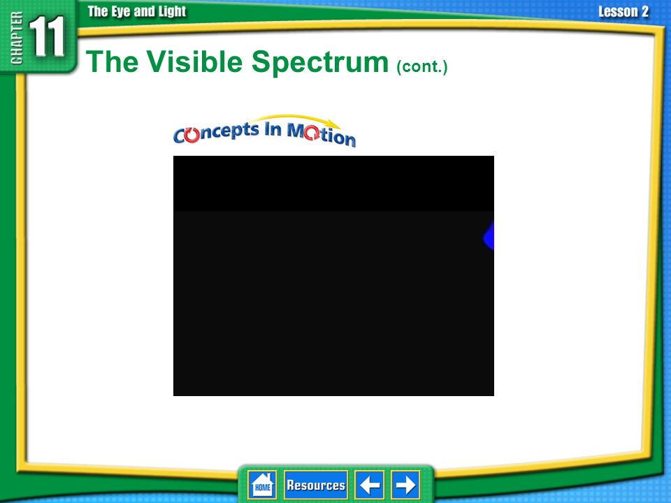 The Visible Spectrum White light is a combination of all light waves in the visible light spectrum. 11.2 Light and Matter Almost any color of light ca