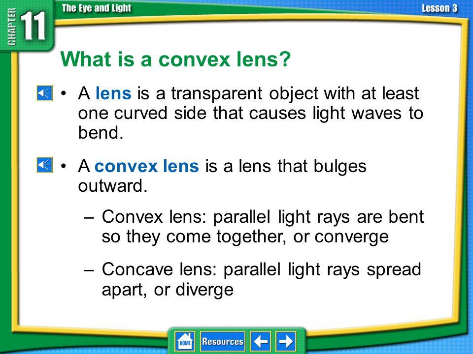 11.3Using Lenses lens convex lens focal point focal length