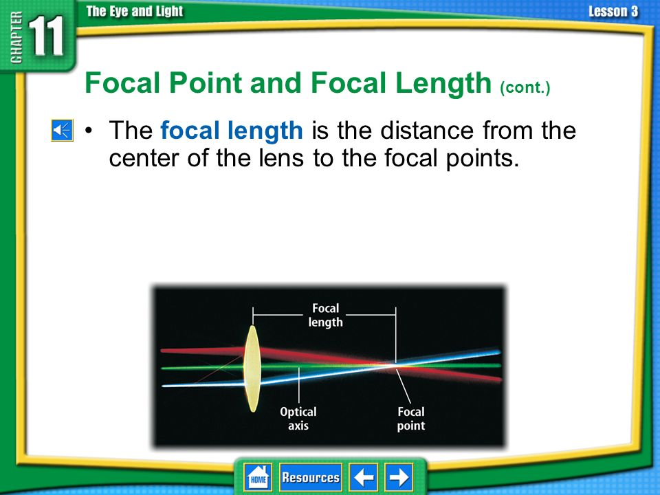 Focal Point and Focal Length The focal point is the point where all of the beams of light converge. In a convex lens, all light rays traveling paralle