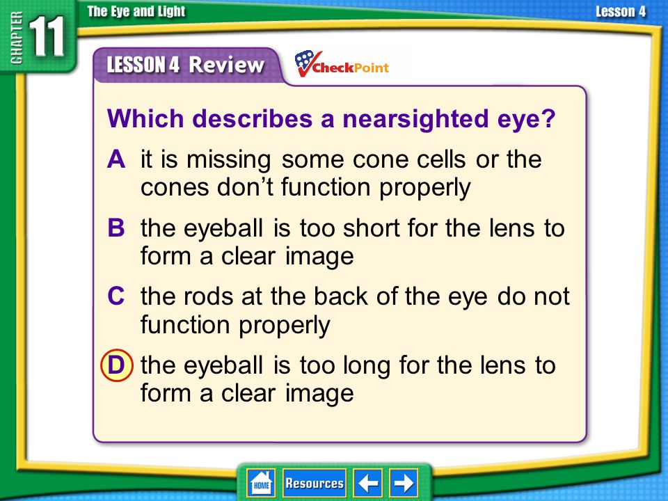 Lesson 4 Review What part of the eye enables you to see colors? Apupil Brod cells Ccone cells Doptic nerve 11.4 The Eye and Vision