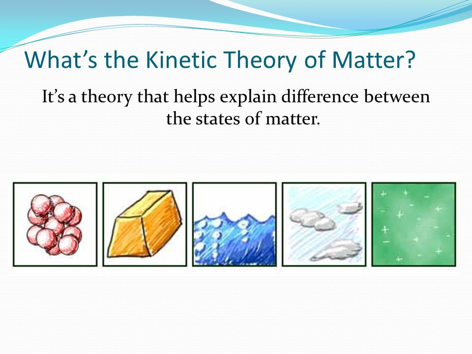 Whats the Kinetic Theory of Matter? Its a theory that helps explain difference between the states of matter.
