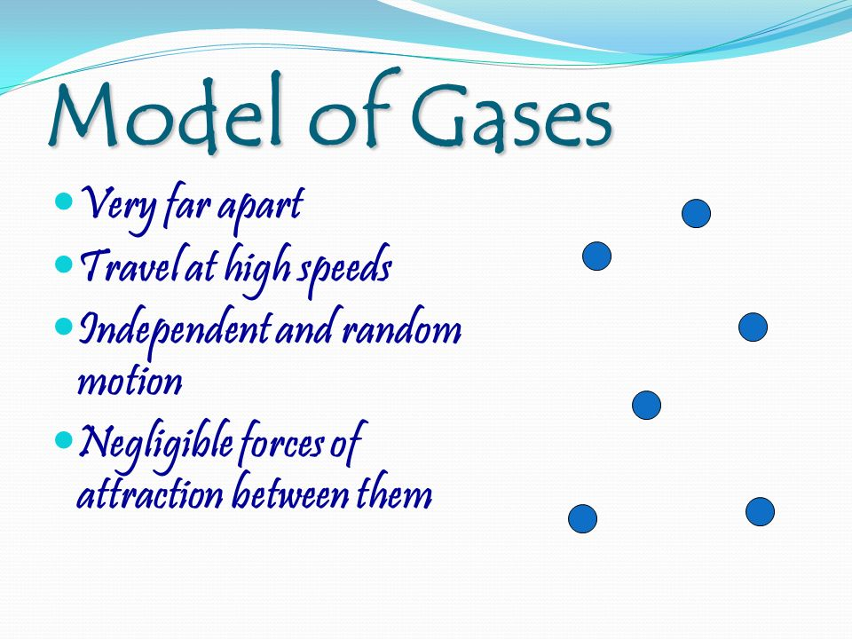 Model of Gases Very far apart Travel at high speeds Independent and random motion Negligible forces of attraction between them