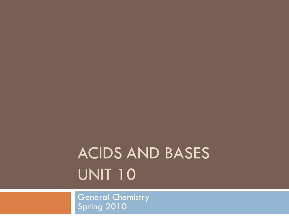 ACIDS AND BASES UNIT 10 General Chemistry Spring 2010