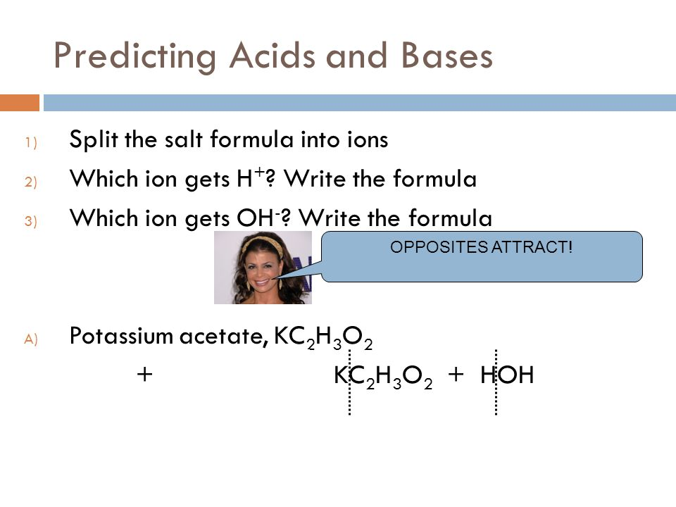 Predicting Acids and Bases 1) Split the salt formula into ions 2) Which ion gets H + .
