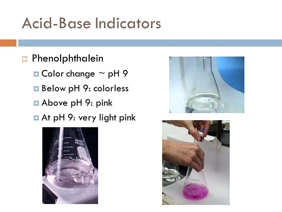 Acid-Base Indicators Phenolphthalein Color change ~ pH 9 Below pH 9: colorless Above pH 9: pink At pH 9: very light pink