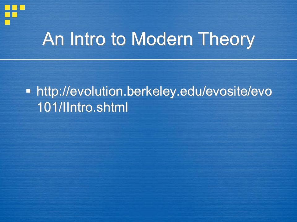 An Intro to Modern Theory http://evolution.berkeley.edu/evosite/evo 101/IIntro.shtml