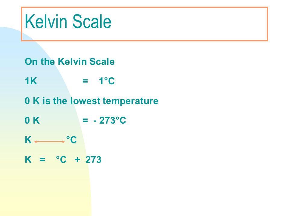 Kelvin Scale On the Kelvin Scale 1K = 1°C 0 K is the lowest temperature 0 K = - 273°C K °C K = °C + 273