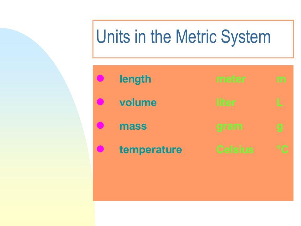 Units in the Metric System length meter m volumeliterL mass gram g temperatureCelsius °C
