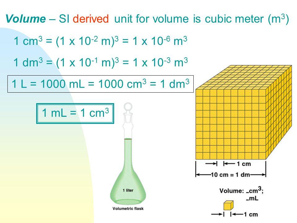 Volume – SI derived unit for volume is cubic meter (m 3 ) 1 cm 3 = (1 x 10 -2 m) 3 = 1 x 10 -6 m 3 1 dm 3 = (1 x 10 -1 m) 3 = 1 x 10 -3 m 3 1 L = 1000