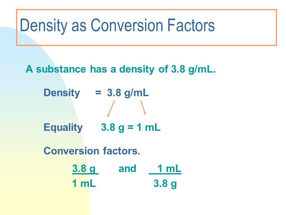 Density as Conversion Factors A substance has a density of 3.8 g/mL. Density = 3.8 g/mL Equality 3.8 g = 1 mL Conversion factors. 3.8 g and 1 mL 1 mL