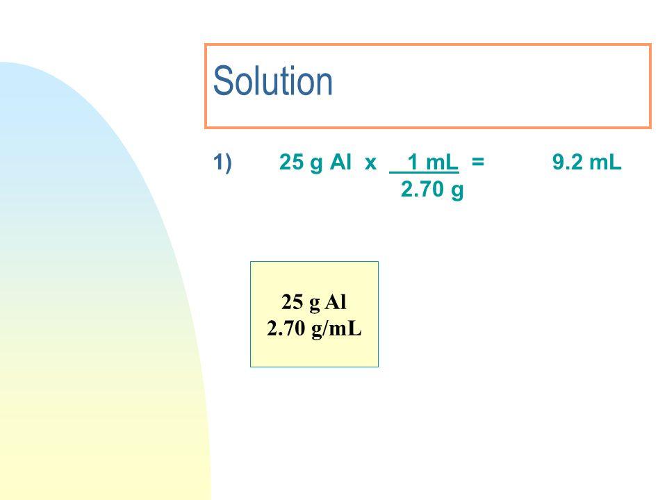 Solution 1)25 g Al x 1 mL = 9.2 mL 2.70 g 25 g Al 2.70 g/mL