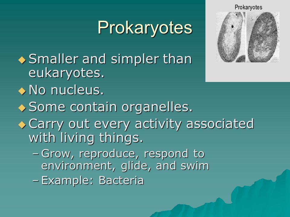 Prokaryotes Smaller and simpler than eukaryotes. Smaller and simpler than eukaryotes. No nucleus. No nucleus. Some contain organelles. Some contain or