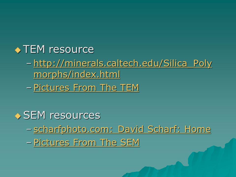 TEM resource TEM resource –http://minerals.caltech.edu/Silica_Poly morphs/index.html http://minerals.caltech.edu/Silica_Poly morphs/index.htmlhttp://m