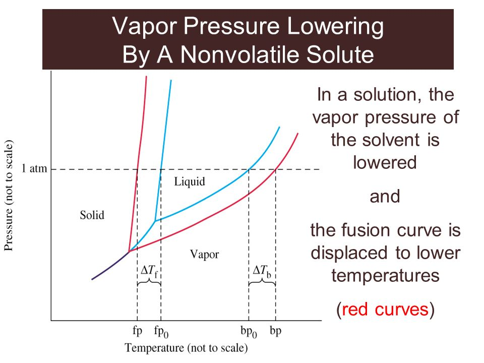 In a solution, the vapor pressure of the solvent is lowered and the fusion curve is displaced to lower temperatures (red curves) Vapor Pressure Loweri