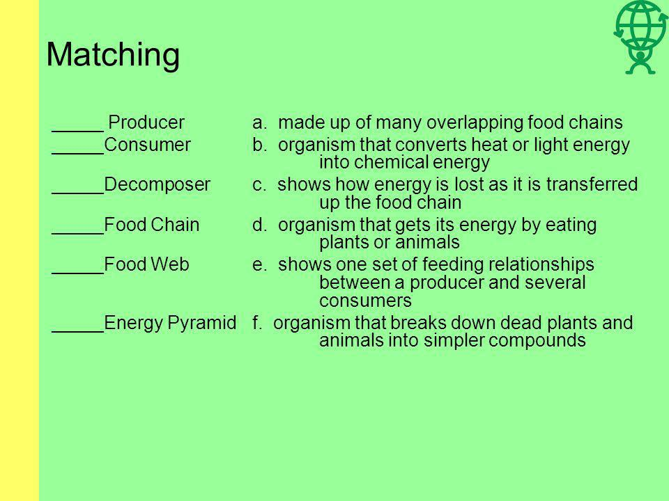 Matching _____ Producera.made up of many overlapping food chains _____Consumerb.