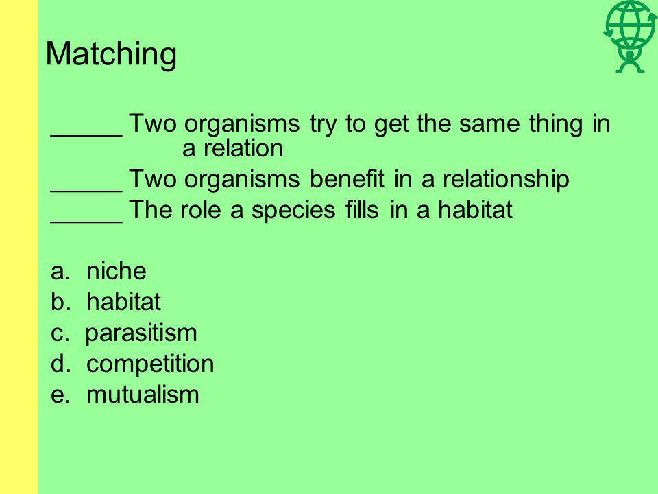 Matching __D__ It surrounds all living things __B__All living organisms need it __E__It gives Earth most of its energy a.organism b.Energy c.The ocean