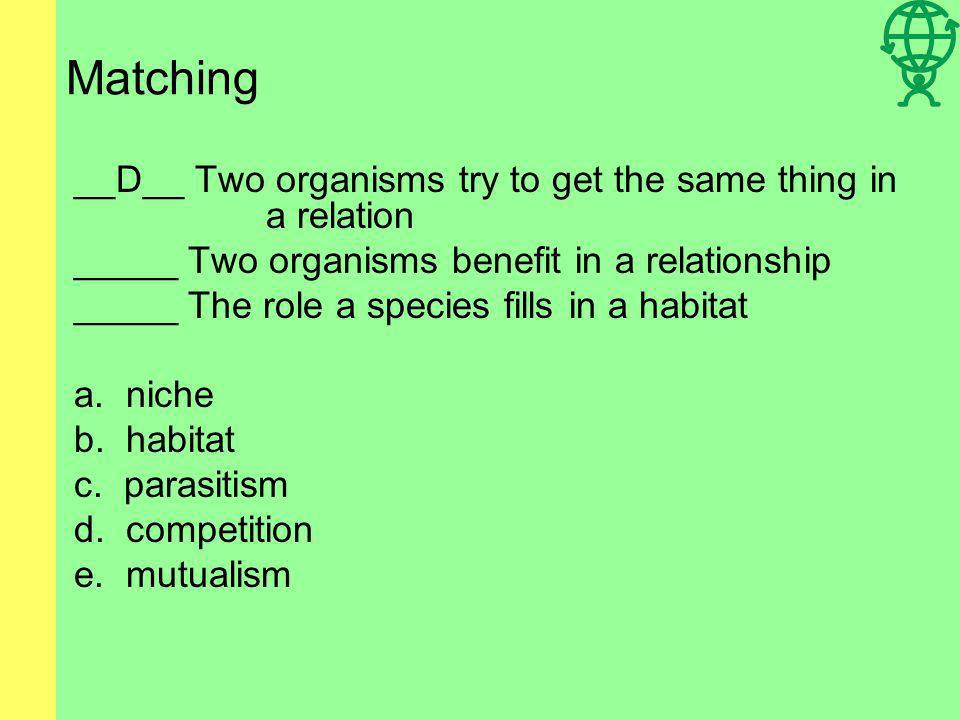 Matching _____ Two organisms try to get the same thing in a relation _____ Two organisms benefit in a relationship _____ The role a species fills in a