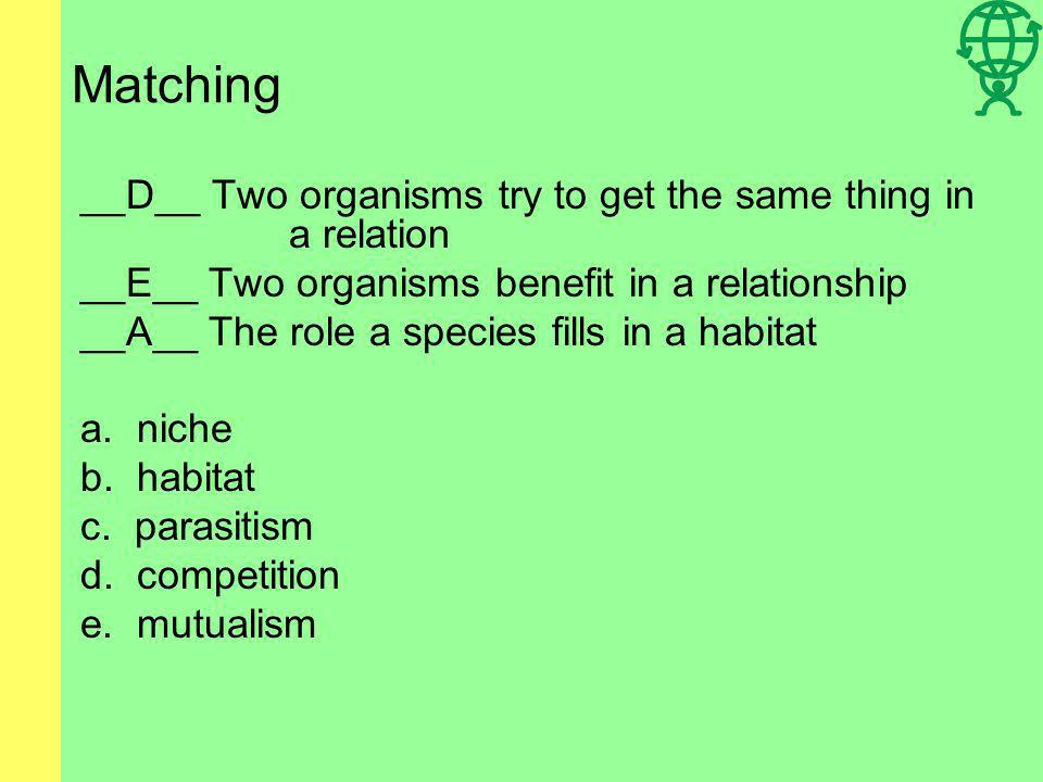 Matching __D__ Two organisms try to get the same thing in a relation __E__ Two organisms benefit in a relationship __A__ The role a species fills in a habitat a.