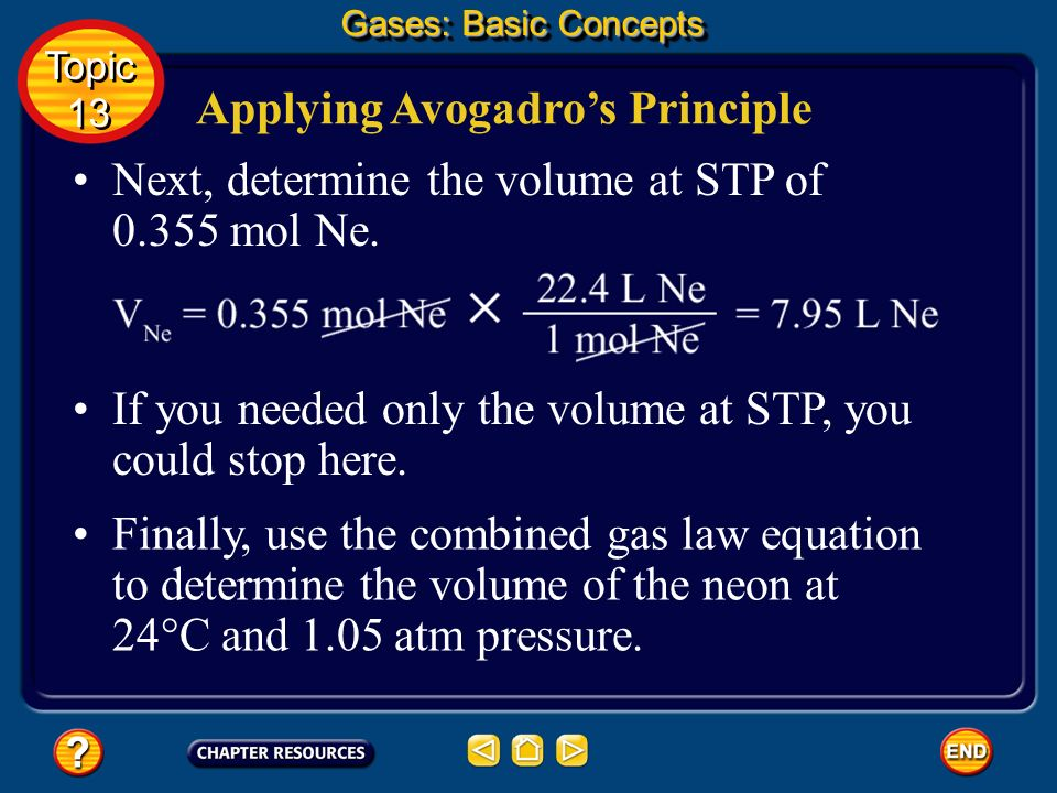 Applying Avogadros Principle What is the volume of 7.17 g of neon gas at 24°C and 1.05 atm? Start by converting the mass of neon to moles. The periodi